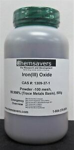 Iron iii Oxide Powder 100 Mesh 99 998 trace Metals Basis 500g