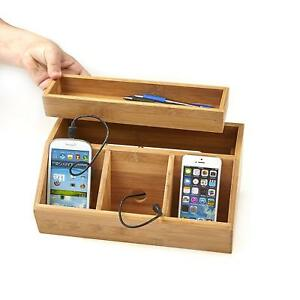 Desk Organizer And Charging Station Bamboo Wood With Tray For Office Brown