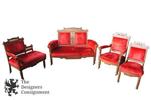 4 Pc Antique Walnut Victorian Eastlake Parlor Set Settee Chairs Gossip Bench