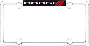 Cruiser Accessories Dodge Emblem License Plate Frame Chrome Red