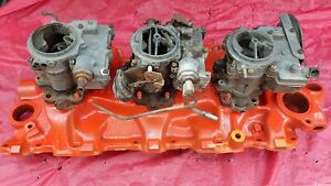 1960 Chevy 348 Tri Power Intake And Carburetors Gm 3749948 Dated D 25 60