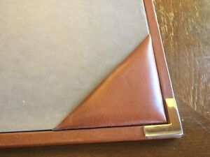 Oroton Genuine Leather Desk Pad Vintage Aniline Cowhide Made In Australia Htf