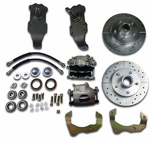 1955 1956 1957 Chevrolet Disc Brake Drop Spindle Kit Drilled Slotted D52 Pads
