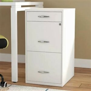 File Cabinet Steel 3 Drawer Filing Locking Home Office Vertical Letter Storage