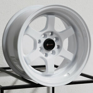 15x8 Vors Tr7 4x100 4x114 3 0 White Wheels Rims Set 4