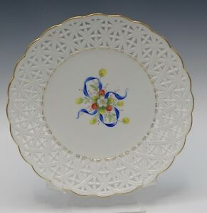Hochst Germany Strawberries And Bow Reticulated Porcelain Plate