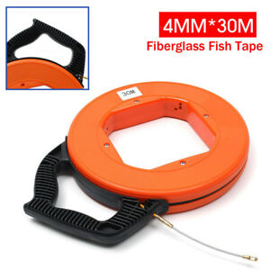 Hq 30m Fiberglass Fish Tape Reel Conduit Ducting Rodder Pulling Wire Cable