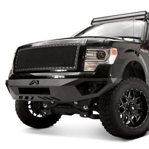 For Ford F 150 09 14 Fab Fours Vengeance Full Width Black Front Hd Bumper
