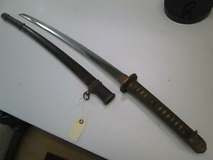 Wwii Koto Blade Old Japanese Samurai Katana Sword With Scabbard Unsigned C15