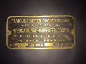 New International Famous Hopper Cooled Brass Data Tag Antique Engine Hit Miss