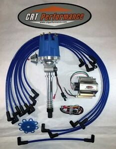 Small Cap Chevy Corvette Tach Drive Blue Hei Distributor coil Plug Wires Under