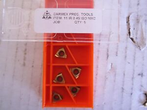 Lot Of 5 Carmex Precision Tool Carbide Inserts 11 Ir 0 45 Iso Mxc New