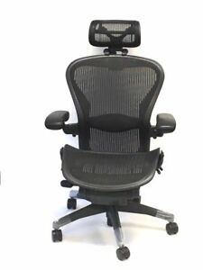 Herman Miller Size B Lumbar Support Aeron Chairs With Headrest