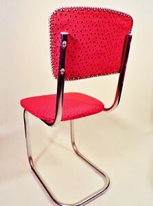 Mid Century Chair Kitchen Desk Chrome Retro 1950s Recovered Red Black 1940s