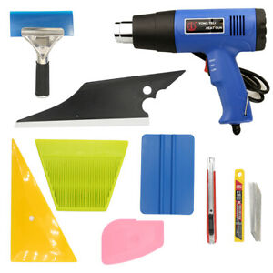 8 Pcs Window Tint Wrapping Vinyl Tools Squeegee Scraper Applicator Heat Gun Kits