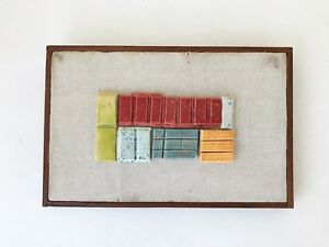 Vintage Modernist Mid Century Modern Abstract Ceramic Glazed Tiles Wall Hanging