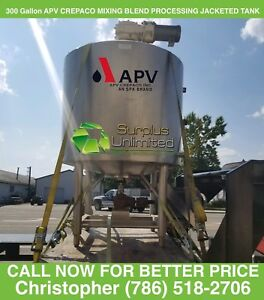 300 Gallon Apv Crepaco Stainless Steel 108psi Jacketed 25hp Likwifier Mix Tank