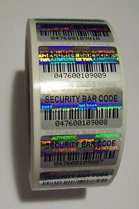 500 Security Barcode Hologram Tamper Evident Label Stickers Seals Full Release