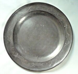 Large Antique English Pewter Charger Engraved Rim