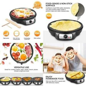 Electric Crepe Maker Nonstick W Thermostat Control Large Cooking Surface 1080w