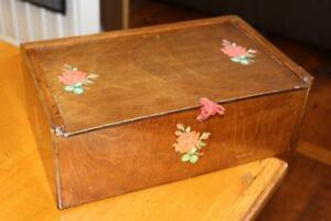 Vintage Antique Oak Wood Veneer Wooden Sewing Trinket Box Rose Decoration