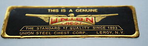 Antique Union Chest Label Machinist Chest Toolbox Very Fine Reproduction