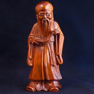 Chinese Wood Carving Of Immortal Shou Lao God Of Longevity Late 19th C