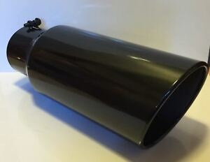 5 Inlet 7 Outlet 18 Long Gloss Black Diesel Exhaust Tip Ford Dodge Chevy