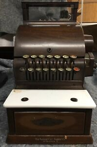 Vintage National Cash Register Model 717 Original Wood Grain Paint Unrestored