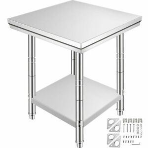 24 x24 Stainless Steel Kitchen Food Pre Work Table Commercial Restaurant Table