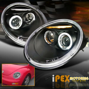 Volkswagen 1998 2005 Vw Beetle Halo Led Projector Black Headlight Gl Gls Glx Tdi