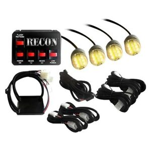 Recon 26419am Bolt On Mount Amber Led Hideaway Strobe Light Kit