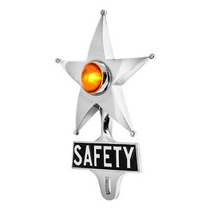 Hot Rod Amber Jewel Lighted Chrome Safety Star Vintage Style License Plate Toppe