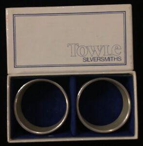 Vintage Towle Sterling Silver Napkin Rings W Box No Monogram Set Of 2