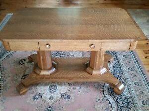 1900 Tiger Oak Library Table Solid Double Column Octagonal Base 48 X 28
