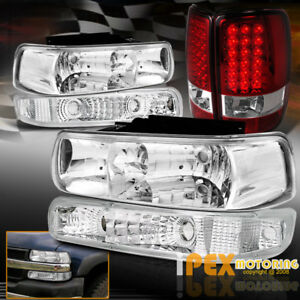 2000 2006 Chevy Suburban Tahoe Chrome Headlights signal Light led Red Tail Light