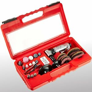 Pneumatic Grinding Stone Tool Kit Spanner Wrench Mini Right Air Angle Carry Case