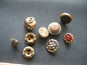 Victorian Buttons Lot Of 9 Filigree Nautical More