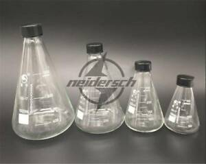 1x Glass Conical Erlenmeyer Narrow Mouth Screw Cap Flask Lab Glassware 50 3000ml