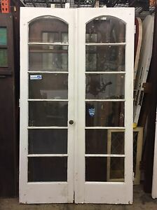 Antique Vintage 1920 S 6 Glass Light Arched Style Wooden French Doors