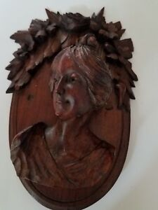 Unique Antique Carved Walnut Figural Female Head Applique 71
