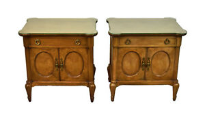 Pair Mid Century Mastercraft Burlwood Nightstands End Table Cabinets