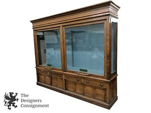 Antique Victorian Quartersawn Oak General Store Display Case Apothecary Cabinet