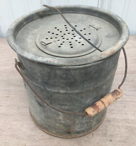 Up To Date Galvanized Live Bait Minnow Bucket Can Pail Vintage Fishing