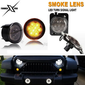 For Jeep Wrangler Jk Yellow Led Turn Signal Lights Smoke Lens Front Grill Work