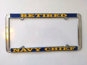Retired Navy Chief Thin Rim With Raised Letters Chrome License Plate Frame