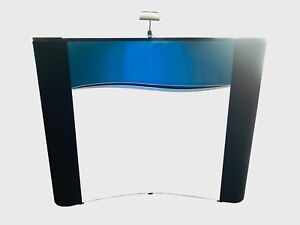 Ellipse Trade Show Curved Tabletop Display mural W fabric Ends Travel Case