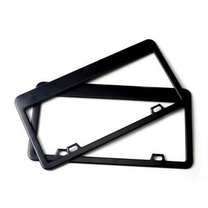 Black License Plate Tag Frame Stainless Steel W Screws 2pcs For Cadillac Lexus
