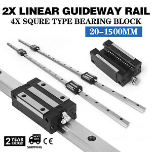 Hgh20 1500mm 2x Linear Rail Set 4x Bearing Block 20mm Unique Smooth Sliding