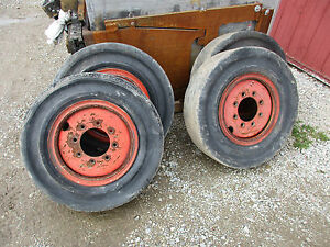 4 Used 10x16 5 Smooth Flat Proof Solid Skid Steer Tires Bobcat Cat Case Gehl
